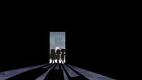 S4E11 Star, Marco, and Janna enter a dark room