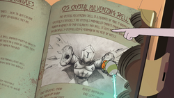 S4E23 Crystal Pulverizing Spell page in Book of Spells