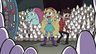 S3E20 Star, Marco, and Pony Head surrounded by pigeons