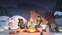 S4E5 Star, Marco, and Brunzetta around a campfire