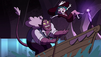 S4E23 Globgor lands on Eclipsa's rowboat