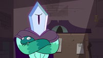 S4E24 Rhombulus crosses arms in skepticism
