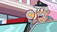 S2E24 Police officer addresses civilians with megaphone