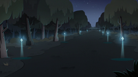 S3E1 Forest with a magically-lit path