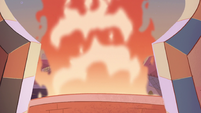 S1E15 Plume of fire outside Star's balcony