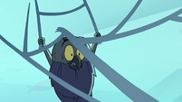S2E2 Ludo hanging from spider web