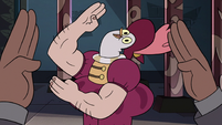 S3E24 Rich Pigeon doing the 'sword hand dance'