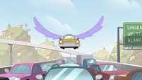S4E27 Taxi cab sprouts purple wings
