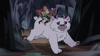 S4E5 Star, Marco, and Brunzetta riding horned bear