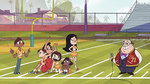 S1E4 Brittney Wong walks across cheerleaders