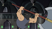 S3E20 Executioner pigeon about to swing his axe