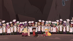 S4E2 Star, Marco, and River surrounded by Pie Folk