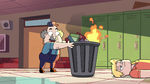 S2E38 Janitor burning books in a trash can fire