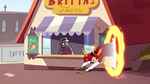 S3E38 Hekapoo appears outside Britta's Tacos
