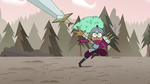 S3E37 Kelly hurling her swords at Meteora