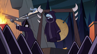 S3E12 Pony Head appears on stage in a cloak