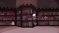 S4E13 Relicor flies toward a bookshelf