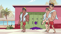 S1E11 Swimmers walking in hallway