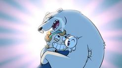 S1E6 Yuri's mother hugging Gustav