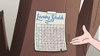 S4E15 Moon puts up a laundry schedule