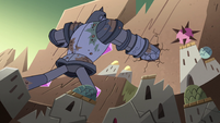 S4E32 Solarian warrior punching the mountain