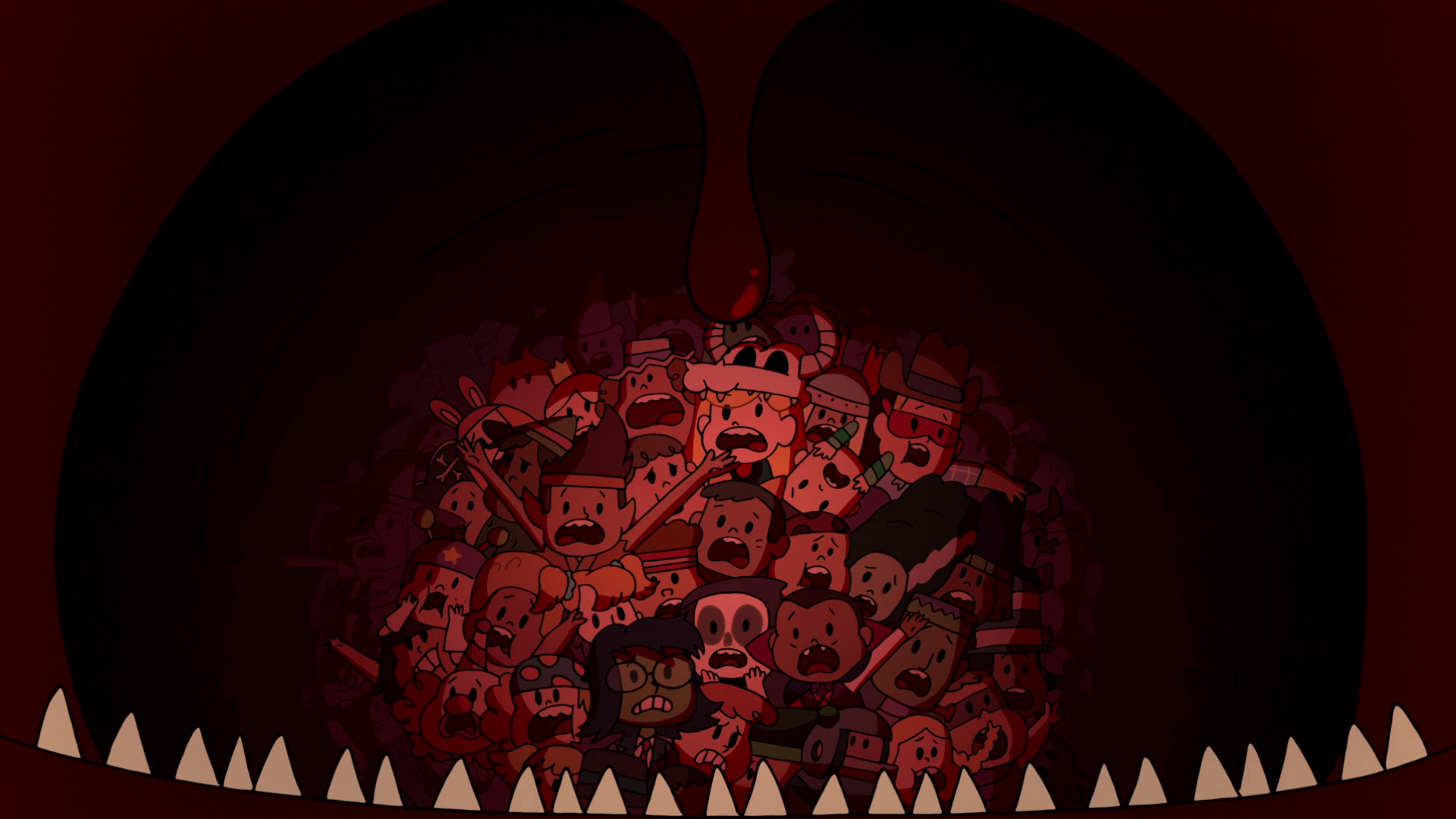 Image - S2E21 Marco, Star, Janna, and kids in Hungry Larry\'s stomach ...