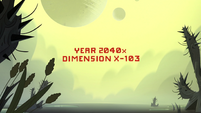 S3E22 'Year 2040x, Dimension X-103' title card