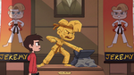 S2E37 Marco looking at animatronic Jeremy statue