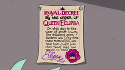 S4E8 Queen Eclipsa's royal decree on paper