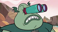 S3E17 Buff Frog looking at dam with binoculars
