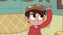 S4E27 Marco taking a piece of pancake