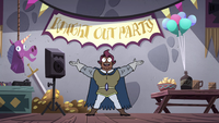 S4E18 Stabby welcomes knights to knight out party