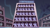 S3E15 Quest Buy display case of starter horses
