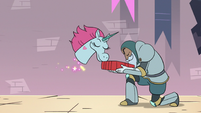 S3E8 Pony Head sniffing Marco's clean hoodie