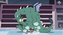 S3E15 Dragon sitting on top of Marco Diaz
