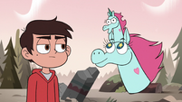 S3E37 Pony Head with little Pony Head on her horn