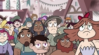 S3E4 Mewman villagers stare unenthused at River