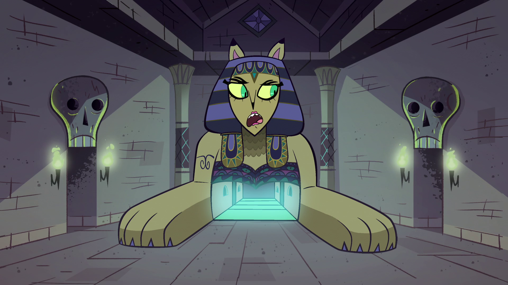 S1E8 Riddle Sphinx talking to skeleton door.png & Image - S1E8 Riddle Sphinx talking to skeleton door.png   Star vs ...