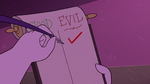 S3E29 Hekapoo puts a check mark under 'EVIL'