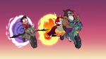 S3E22 Marco, Talon, and Hekapoo riding dragon-cycles