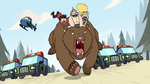 S2E10 Star, Marco, and King riding a grizzly bear