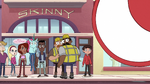 S2E24 Marco, Pony Head, and civilians listen to police officer