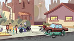S2E36 Everyone and officer next to Miss Heinous' car