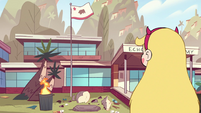 S2E38 Star Butterfly looking at Echo Creek Academy