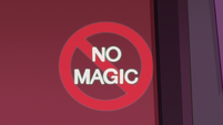 S2E25 Bureaucracy of Magic's 'No Magic' sign