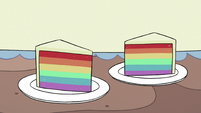 S3E25 Slices of rainbow-colored cake
