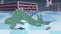 S3E15 Dragon gnawing on a knight's lance