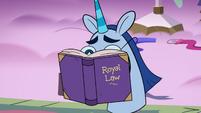 S3E21 Pamanda hiding her face behind a book