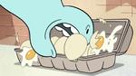 S2E24 Pony Head messily grabbing some eggs