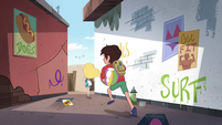 S4E27 Star and Marco chase seagull through alley